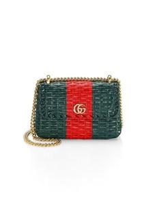 Gucci Cestino Web Straw Mini Shoulder Bag