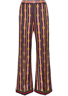 Gucci chain and stripe print silk trousers