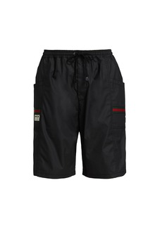 Coated Cotton Shorts With Gucci Label