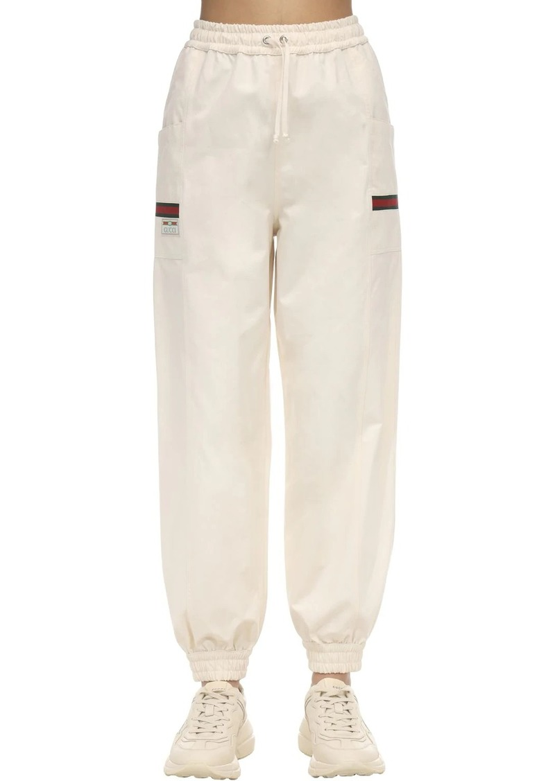 Gucci Cotton Canvas Trackpants W/gg Patch