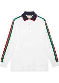 Cotton polo with Gucci stripe white