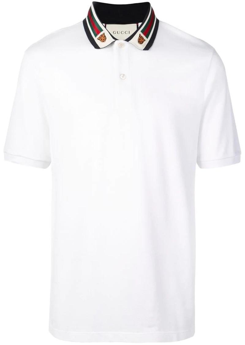 f01105e50 Gucci Cotton polo with Web and feline head | Casual Shirts
