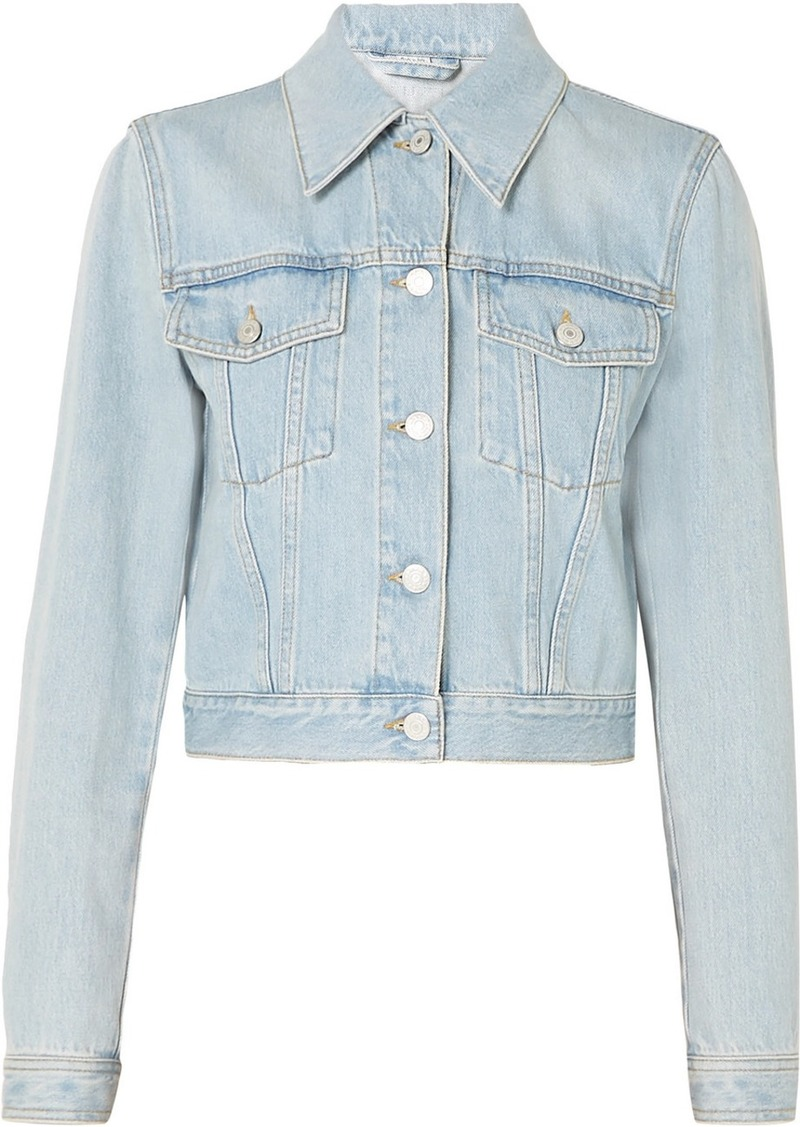 Cropped Appliquéd Denim Jacket