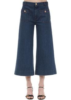 Gucci Cropped Cotton Denim Wide Leg Pants