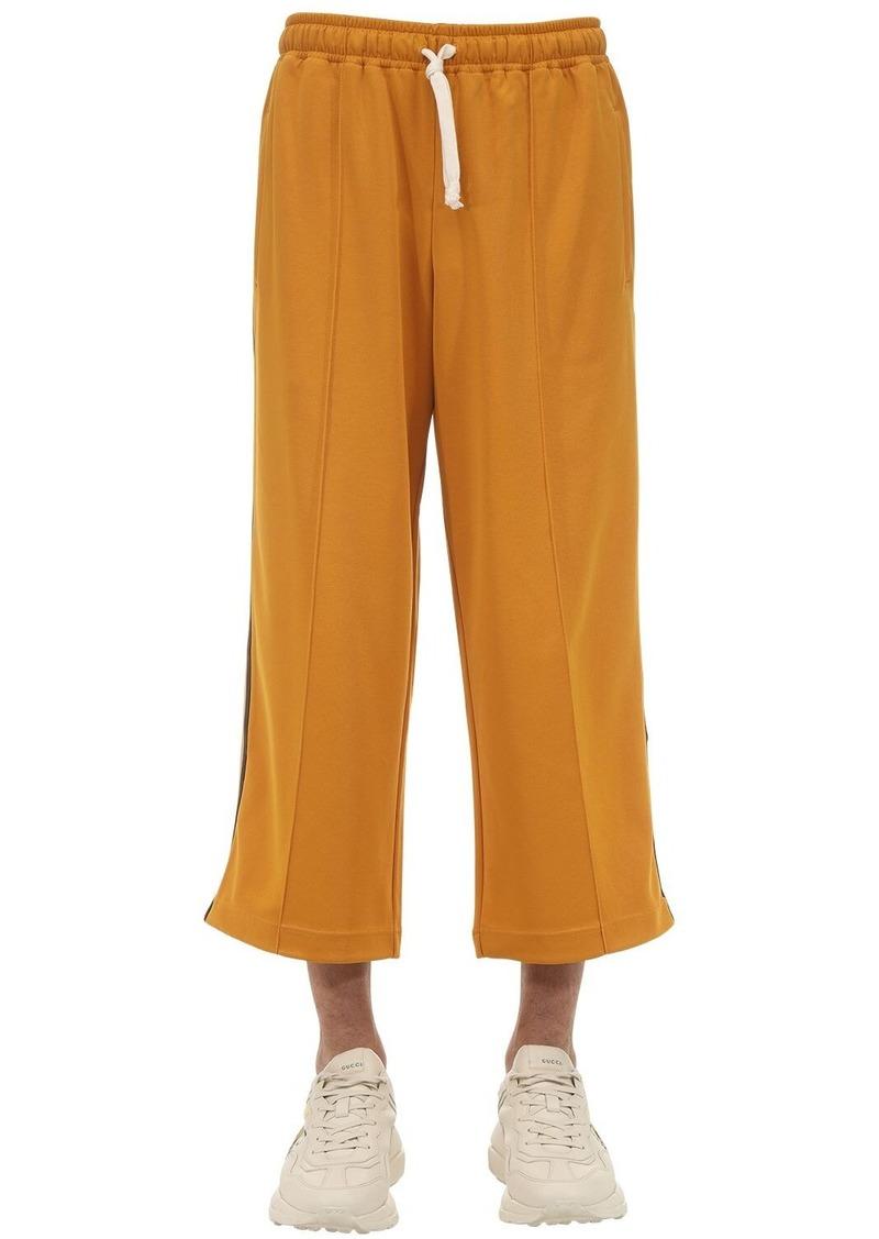 Gucci Cropped Techno Cotton Blend Jersey Pants