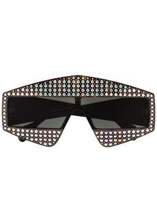 Gucci crystal tortoiseshell rectangular-frame sunglasses