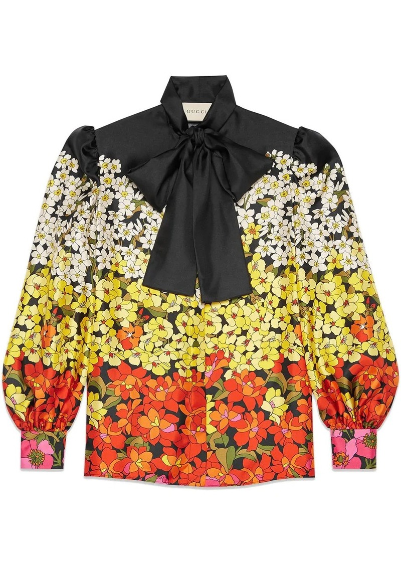 Gucci Degradé flowers silk twill shirt