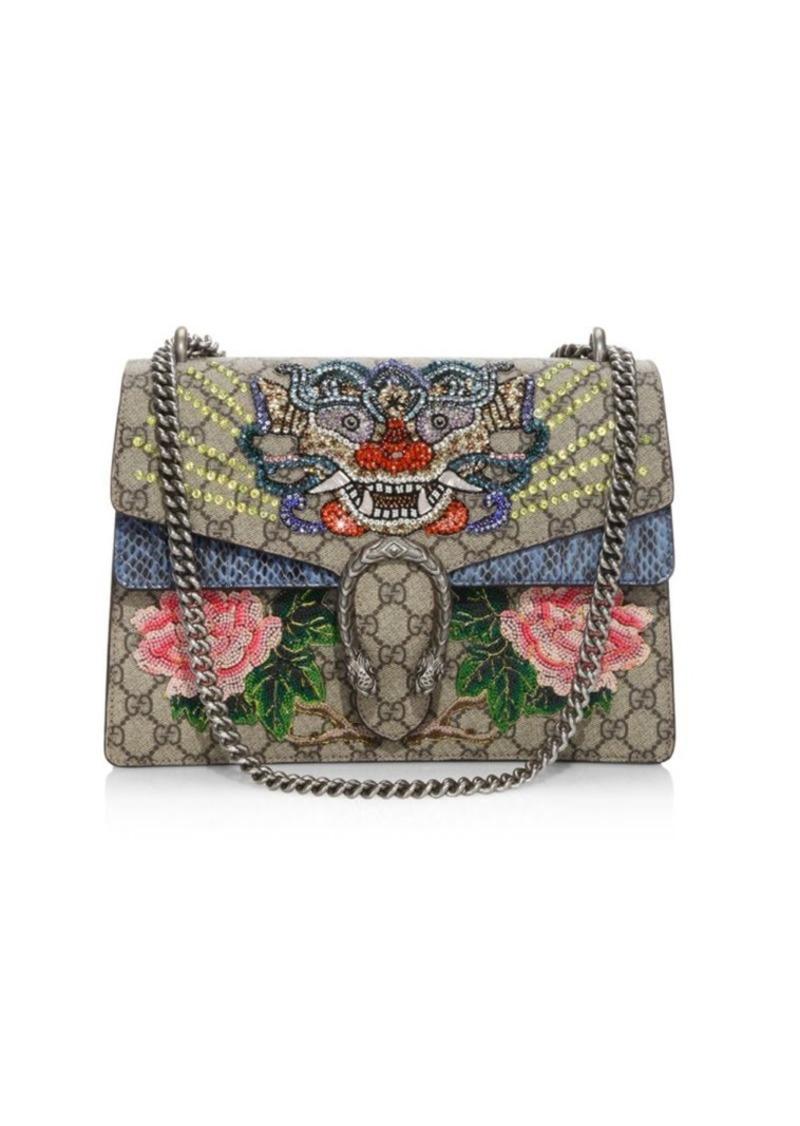 17b7801d42ad Dionysus Medium Embroidered GG Supreme & Snakeskin Chain Shoulder Bag. Gucci