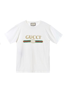 Distressed Gucci-Print Cotton Tee