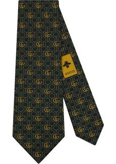Gucci Double G Horsebit chain silk tie