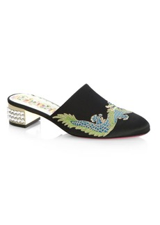 Gucci Dragon Mules with Crystal Heels