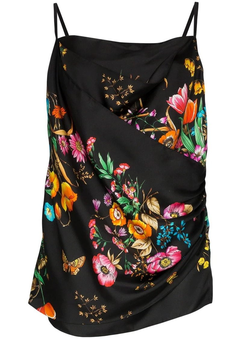 Gucci Draped silk floral print cami