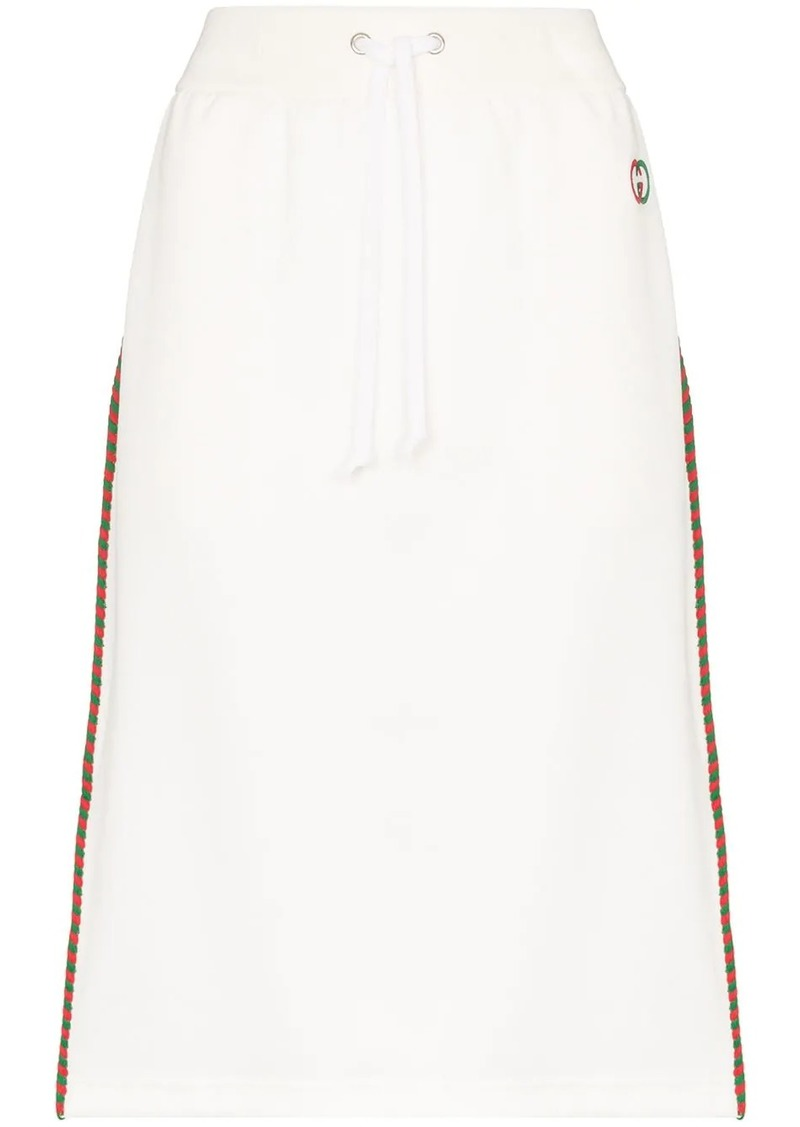 Gucci drawstring striped midi skirt