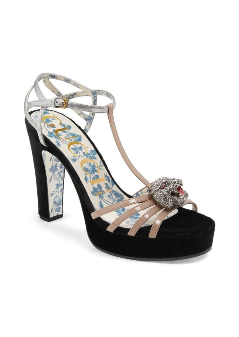 d21610026 Gucci Leather T-Strap Crystal Feline Head Sandals