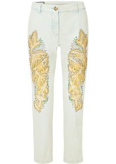 Gucci Embellished Appliquéd Mid-rise Straight-leg Jeans