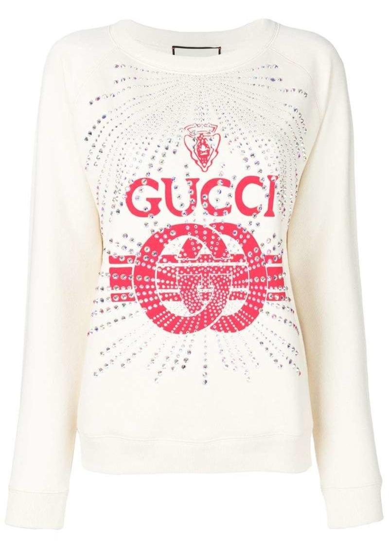 5417f311f4b Gucci embellished logo print sweatshirt