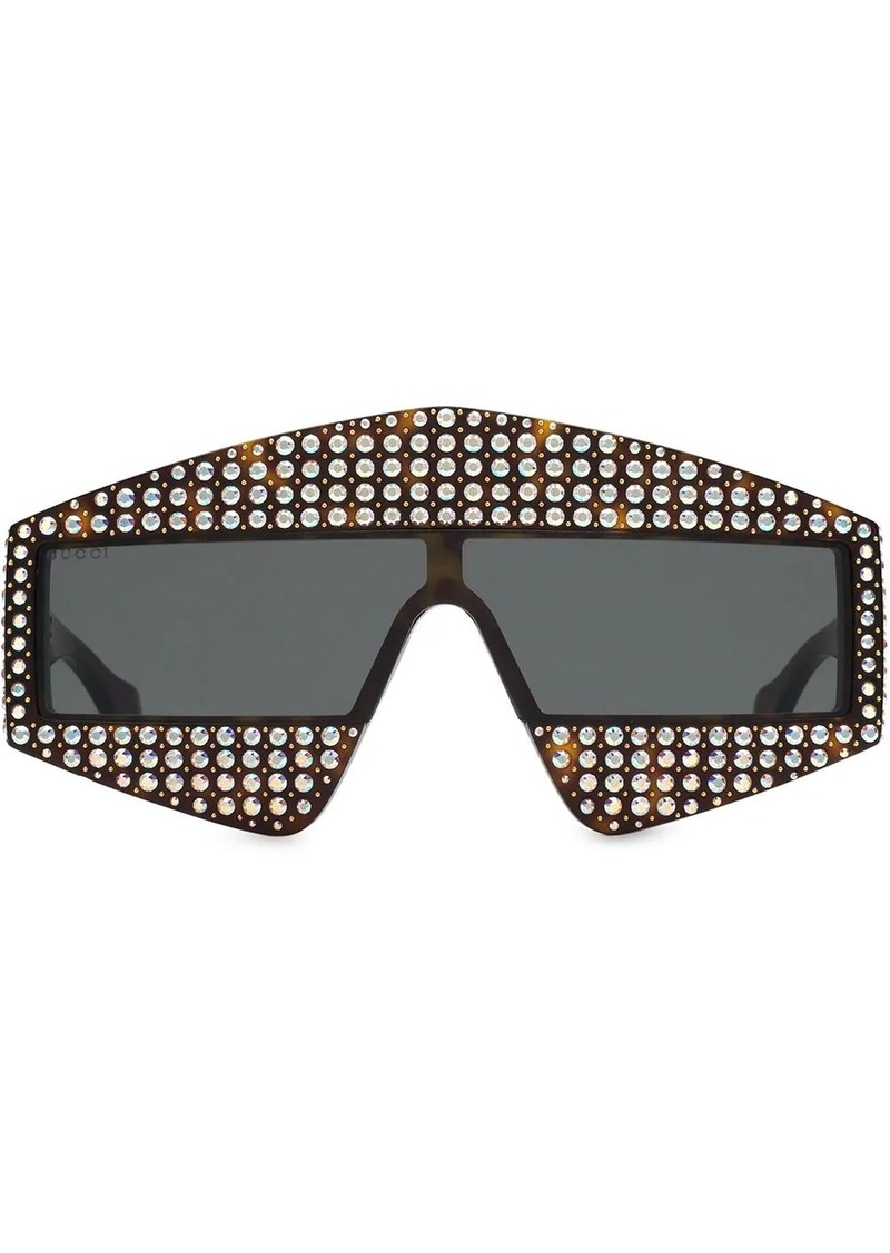 Gucci embellished rectangular-frame sunglasses