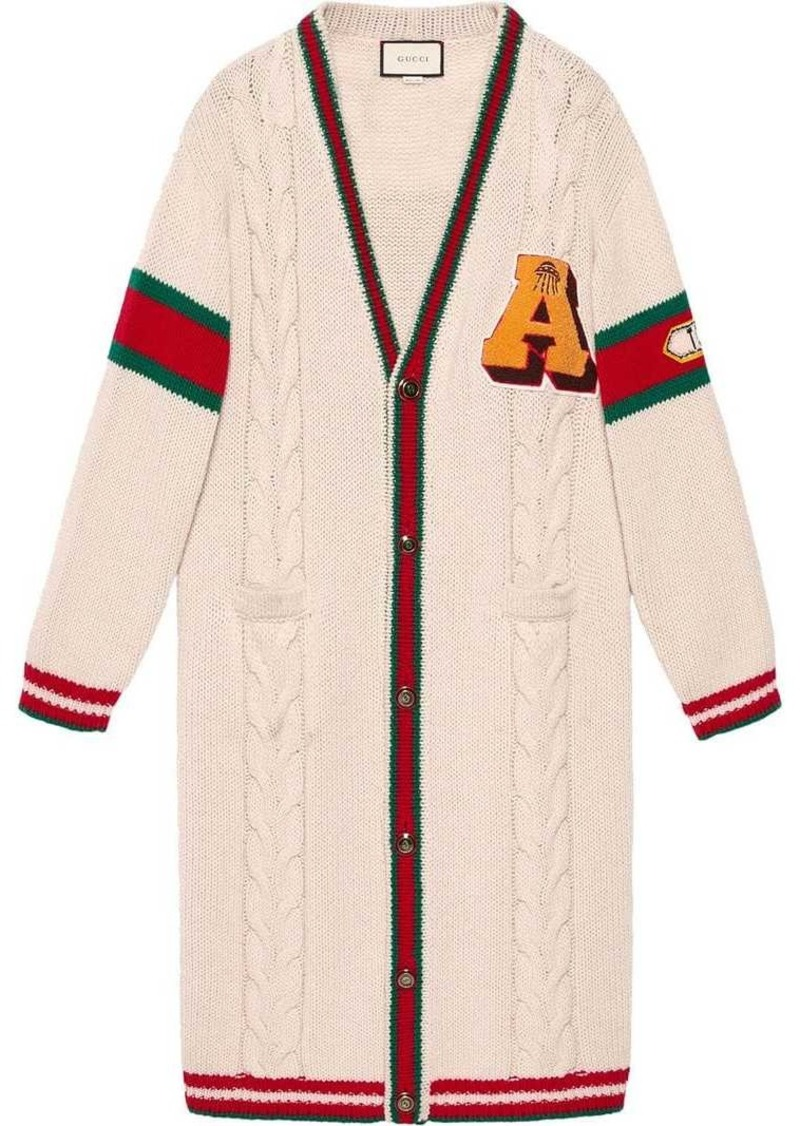567ab1045a4 Gucci Embroidered chunky cable knit cardigan | Sweaters