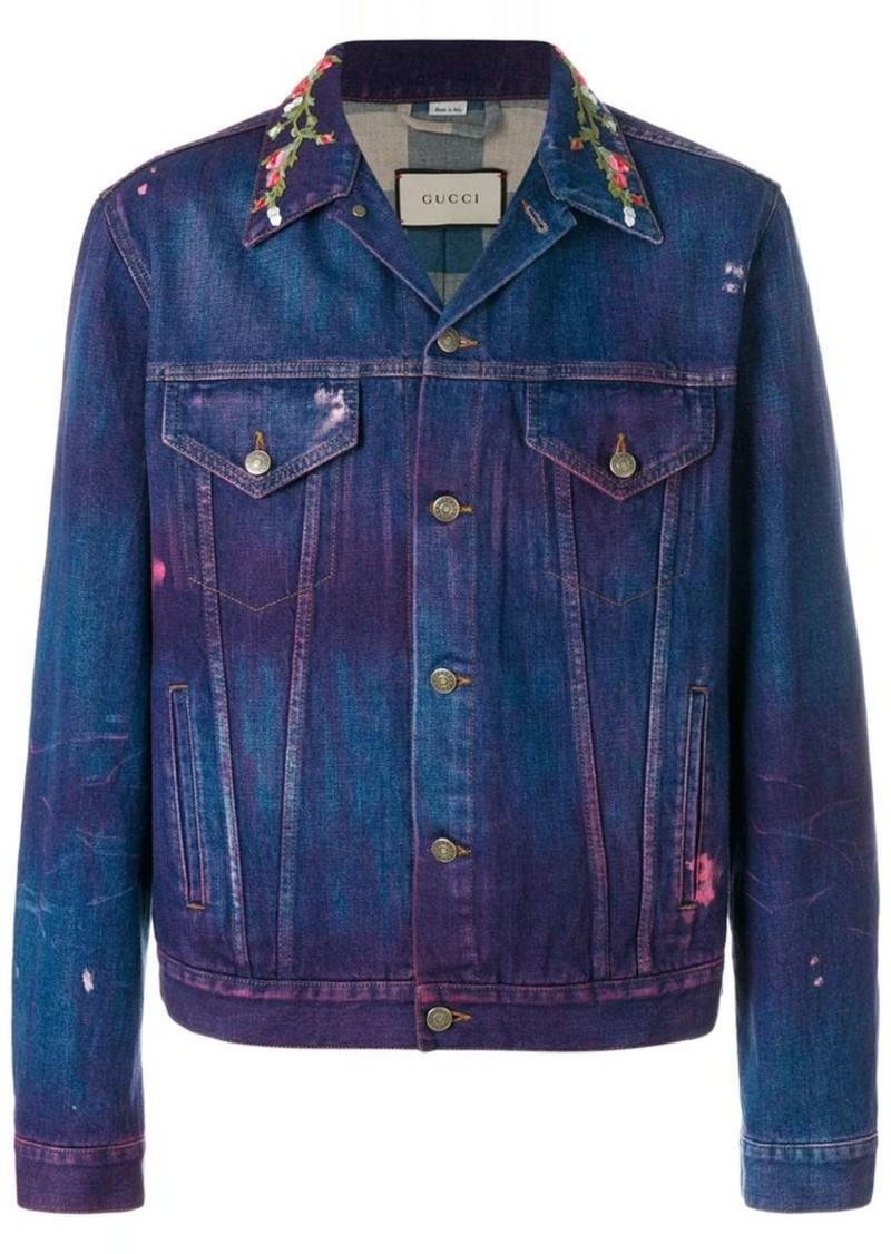 858ac369a016f Gucci embroidered denim jacket