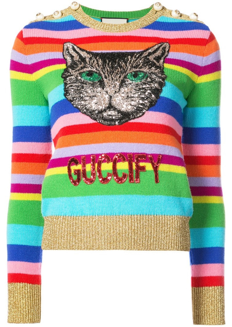 611c2514afc Gucci embroidered stripe knit sweater