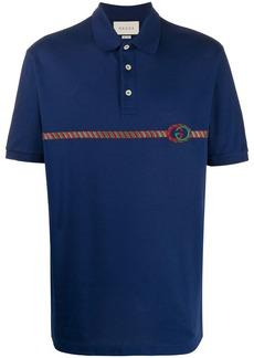 Gucci embroidered Web stripe polo shirt