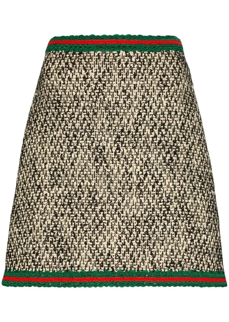 Gucci embroidered Web tweed mini skirt