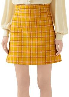Gucci Fancy Tweed Damier A-Line Mini Skirt