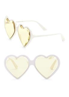 Gucci Fashion Show Ivory & Yellow Heart Sunglasses/60MM