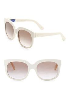 Gucci Fashion Show Ivory Square & Brown Sunglasses/56MM