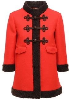 Gucci Felted Wool Short Coat W/ Faux Fur