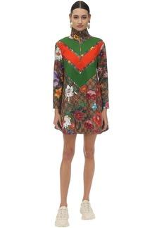 Gucci Flora Gg Supreme Print Tech Jersey Dress