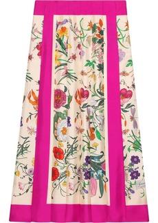 Gucci Flora print pleated skirt