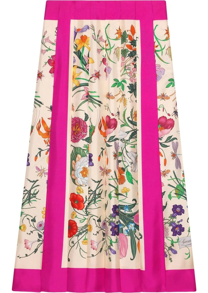 Gucci Flora print pleated skirt