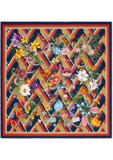 Gucci Flora Snake chevron print silk scarf
