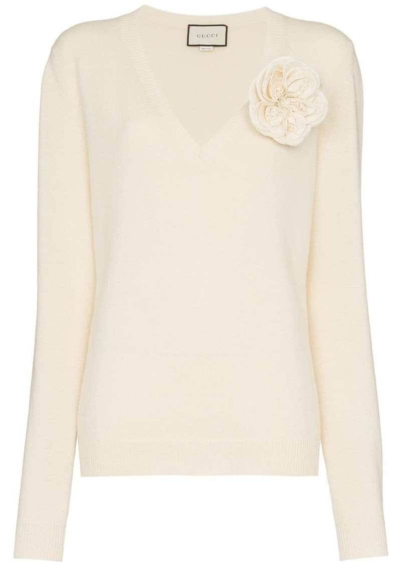 Gucci Flower Appliqué Cashmere Sweater