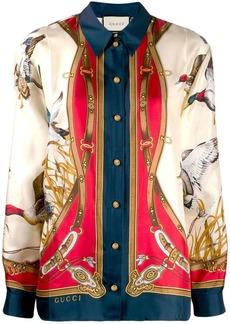 Gucci Flying Duck print long-sleeved shirt