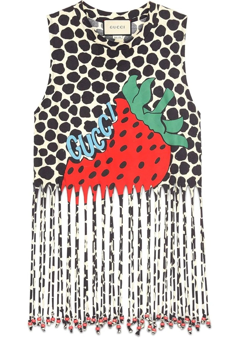 Fringe tank with Gucci Strawberry print