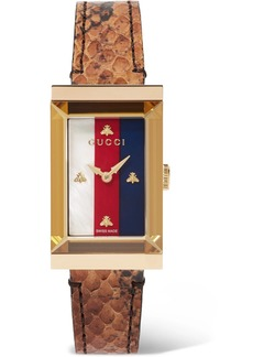 Gucci G-frame Ayers, Gold-tone And Mother-of-pearl Watch