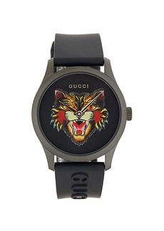 Gucci G-Timeless Angry Cat Stainless Steel & Rubber-Strap Watch