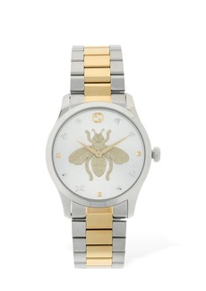 Gucci 38mm G Timeless Bicolor Bee Motif Watch