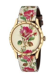 Gucci G-Timeless Floral Leather Strap Watch