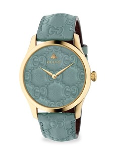 Gucci G-Timeless Goldtone Case 38MM Pastel Blue Leather Strap Watch