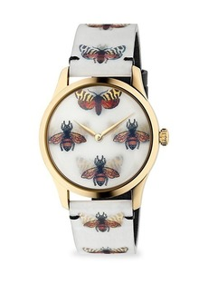Gucci G-Timeless Goldtone PVD Case 38MM Bees and Butterfly Hologram Watch