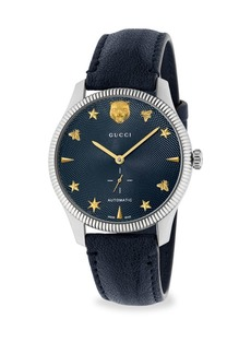Gucci G-Timeless Stainless Steel Case 40MM Automatic Blue Guilloché Dial Blue Leather Watch