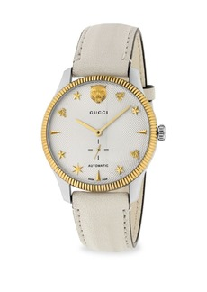 Gucci G-Timeless Stainless Steel Case 40MM Automatic Silver Guilloché Dial Crème Leather Watch