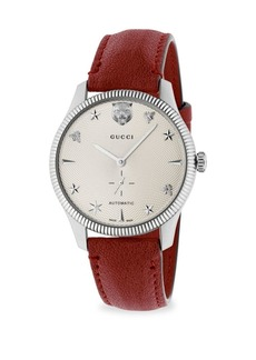 Gucci G-Timeless Stainless Steel Case 40MM Automatic Silver Guilloché Dial Red Leather Watch