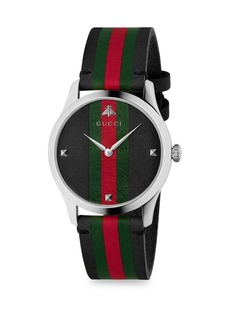 Gucci G-Timeless Stainless Steel Stripe Web Strap Watch