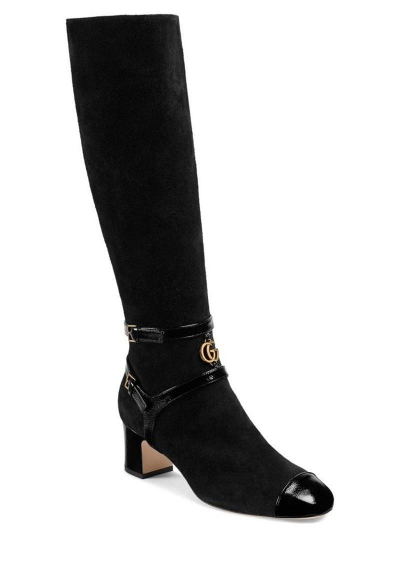 c40e4d7a02 Gucci Suede Mid-Heel Knee Boots | Shoes