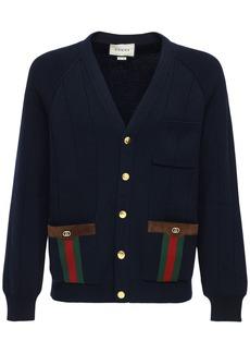 Gucci Gg & Web Wool Blend Knit Cardigan