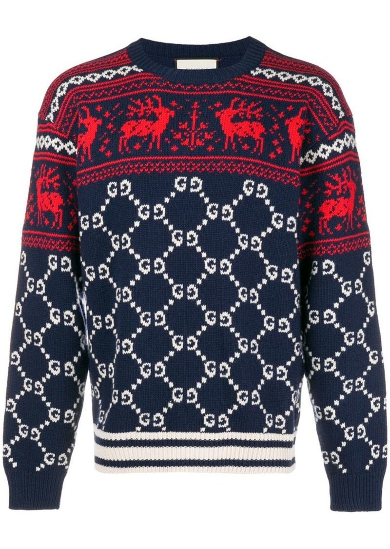 718697ba1511 Gucci GG and reindeer jacquard sweater